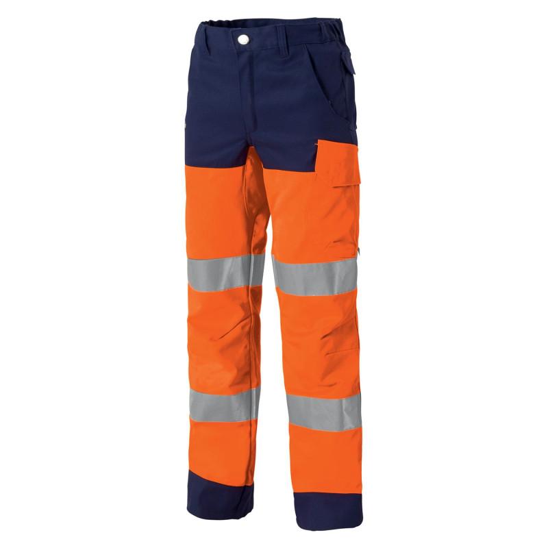 Pantalon travail orange fluo