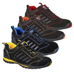Chaussures de sécurité Portwest TRAINER LUSUM bicolores de type basket, normées EN 20345 S1P HRO (semelle résistante à la chaleur). Ces chaussures de sécurité en cuir suédé, disponibles en plusieurs coloris possèdent un excellent rapport qualité/prix.