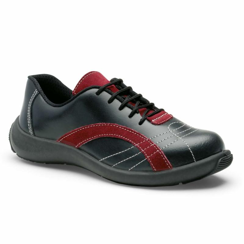 chaussures de sécurité femme noir et rouge