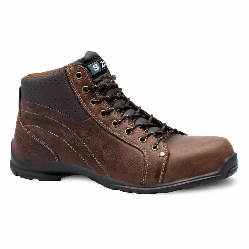 chaussures de sécurité cuir marron haute lacet