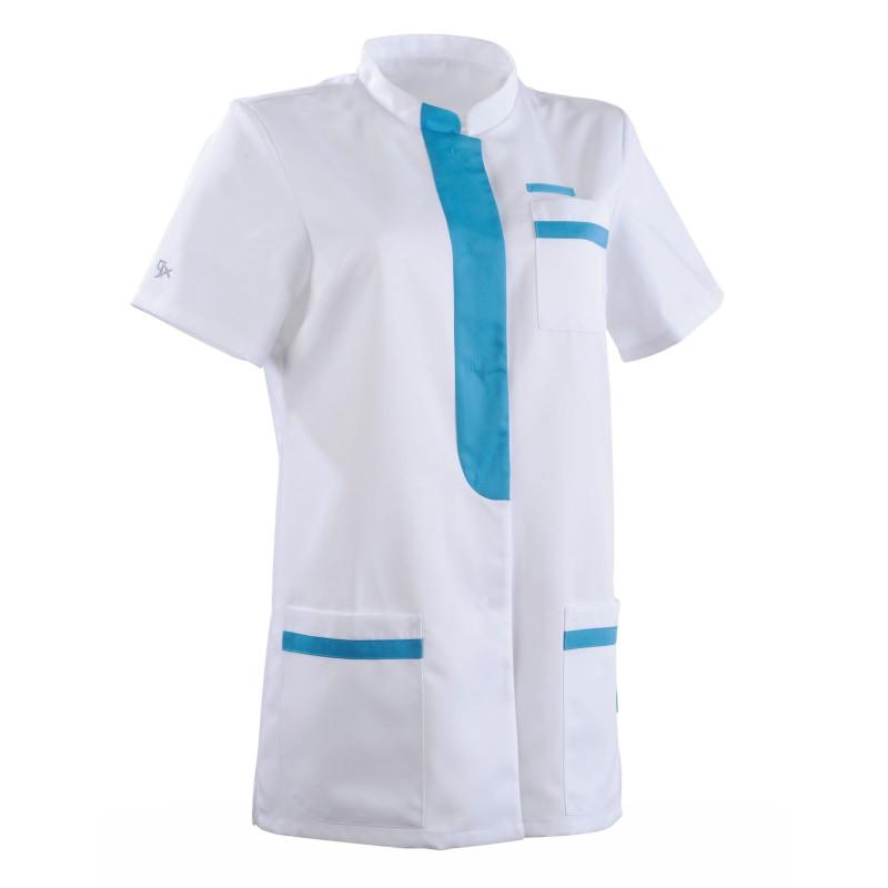Tunique Médicale Femme en Tencel coupe Cintrée KIM Clemix Blanc Turquoise