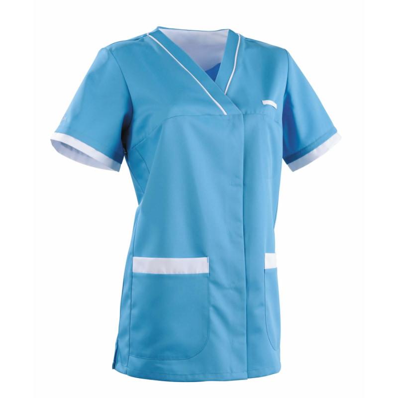Tunique médicale Femme ALEXANDRA Clemix Semi Cintrée Turquoise / Blanc