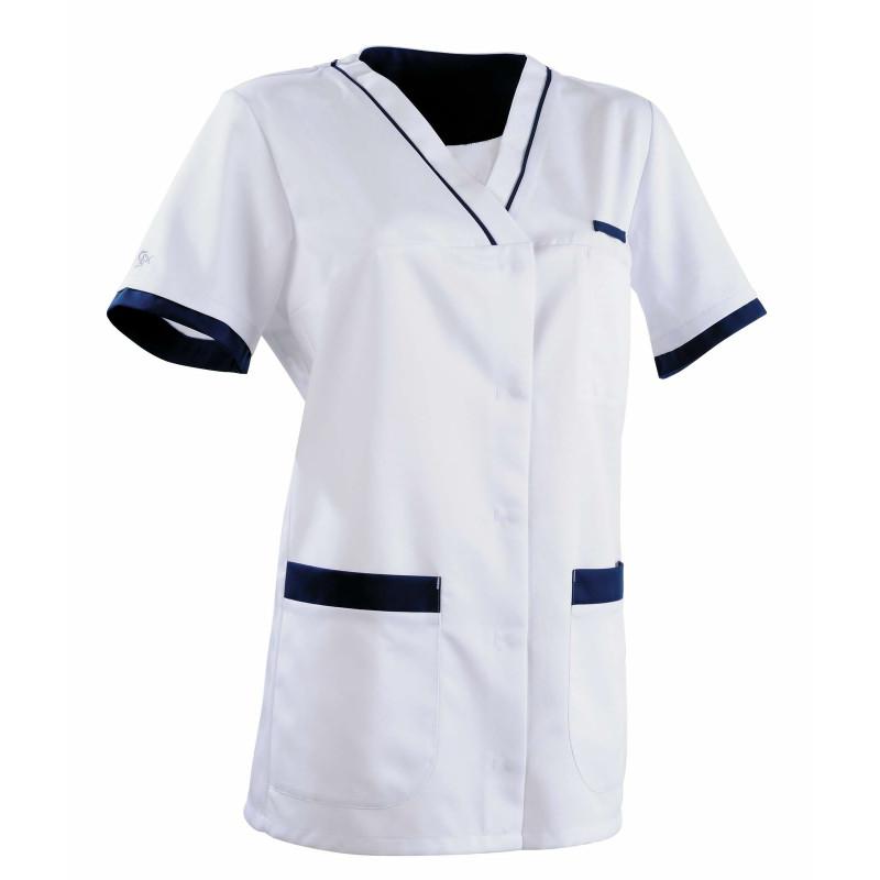 Tunique médicale Femme ALEXANDRA Clemix Semi Cintrée Blanc / Bleu Marine