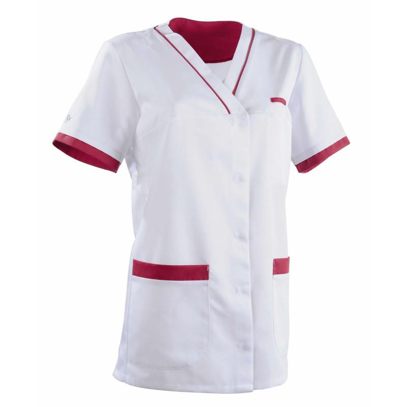 Tunique médicale Femme ALEXANDRA Clemix Semi Cintrée Blanc / Cassis