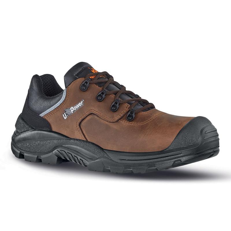 Chaussures de sécurité en cuir marron Upower sans métal S3 SRC QUEBEC UK