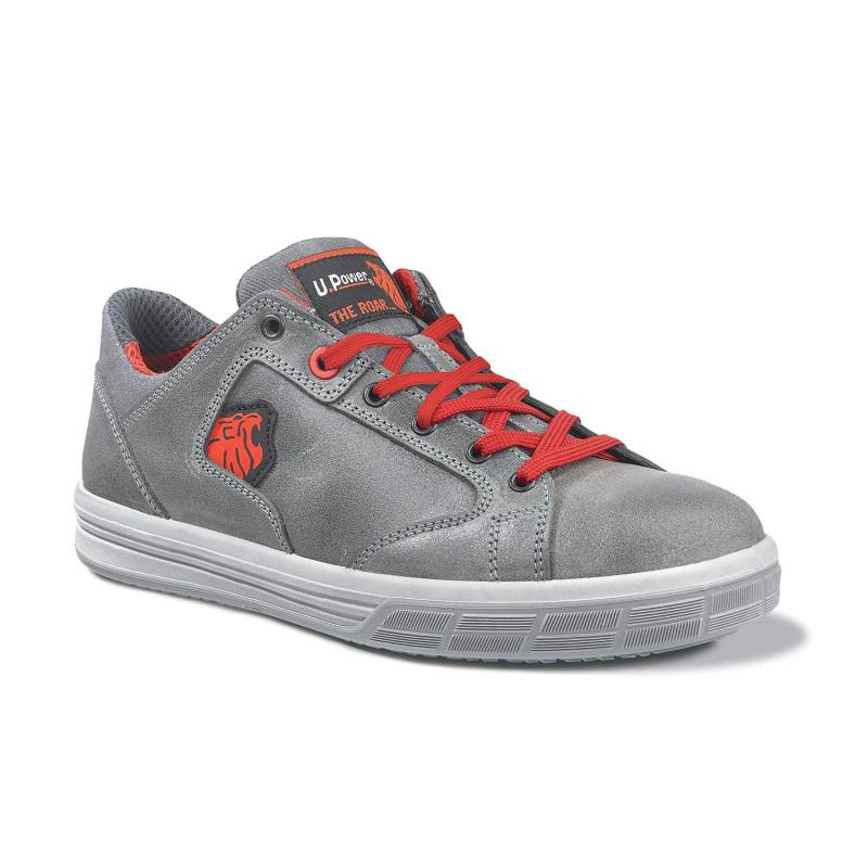 Chaussures de sécurité grises et rouge upower S3 SRC FOREST