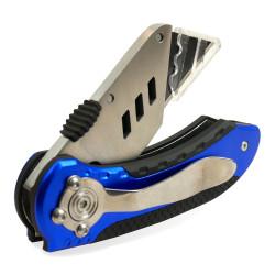 Cutter pliant Alu bleu lame 18mm + étuis de 10 lames 567820 KELI