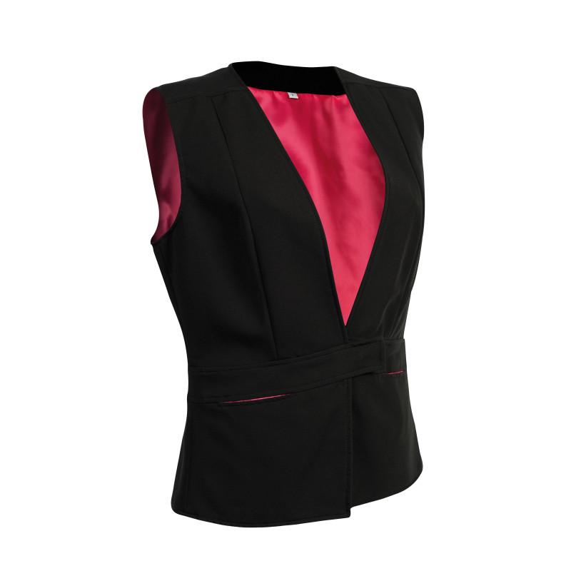 Gilet de service femme BORA Robur noir et doublure intérieure rose fuchsia