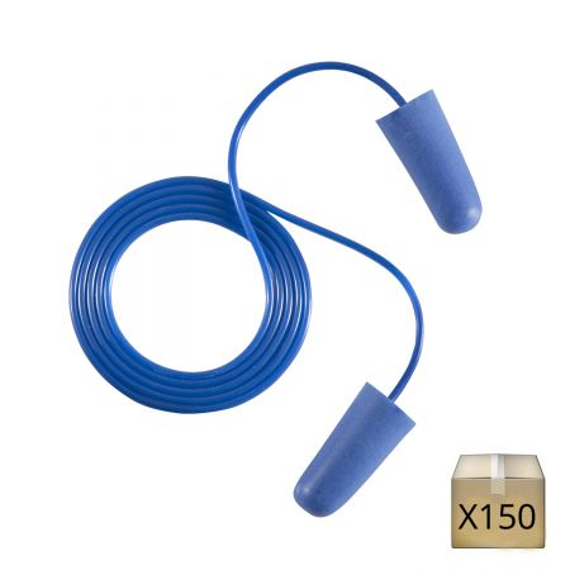 x150 Bouchons d'oreilles agroalimentaire détectables avec cordon Coverguard