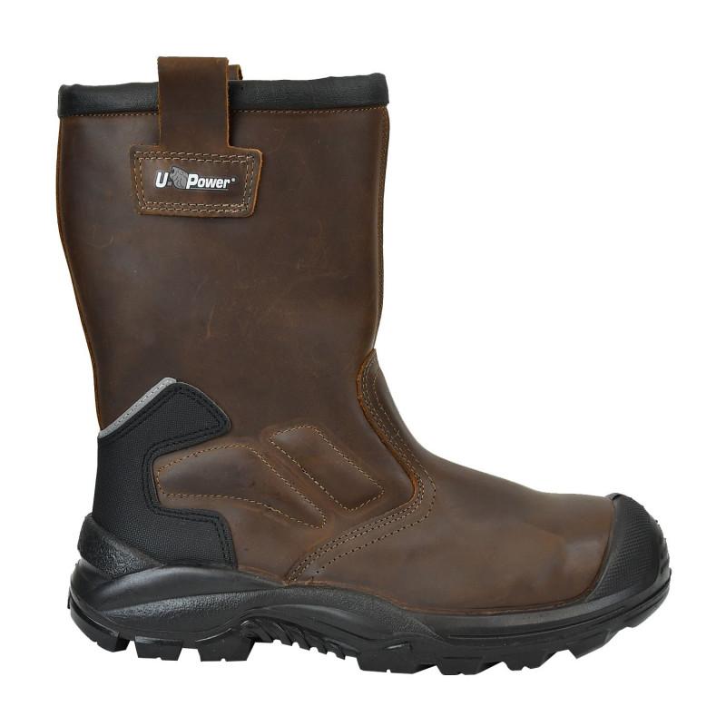 Bottes de sécurité  hiver Upower sans métal couleur marron S3 CI SRC ALASKA UK
