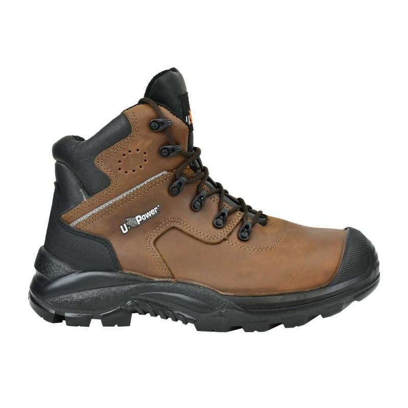 Chaussures de sécurité BTP pour chantier UPower GREENLAND UK de couleur marron | brodequin de sécurité sans métal