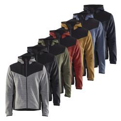 Cette veste Blaklader combine le confort et la chaleur du tricot Jacquard, la flexibilité et la liberté de mouvement de l'élasthanne (stretch) ainsi que la résistance aux agressions mécaniques, à l'humidité et au vent des empiècements softshell. Cette veste professionnelle tricotée offre un bon confort thermiqueet possède plusieurs poches, une capuche fixe ainsi qu'un dos allongé couvre reins.