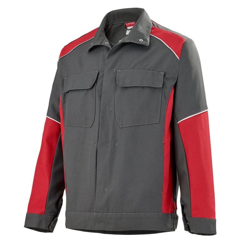 Blouson de travail gris rouge Lafont collection Steel KELVIN entretien industriel