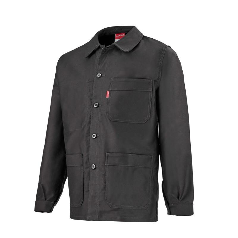 Veste de travail velours moleskine noire pour les artisans du bois : couvreur, menuisier, charpentier...