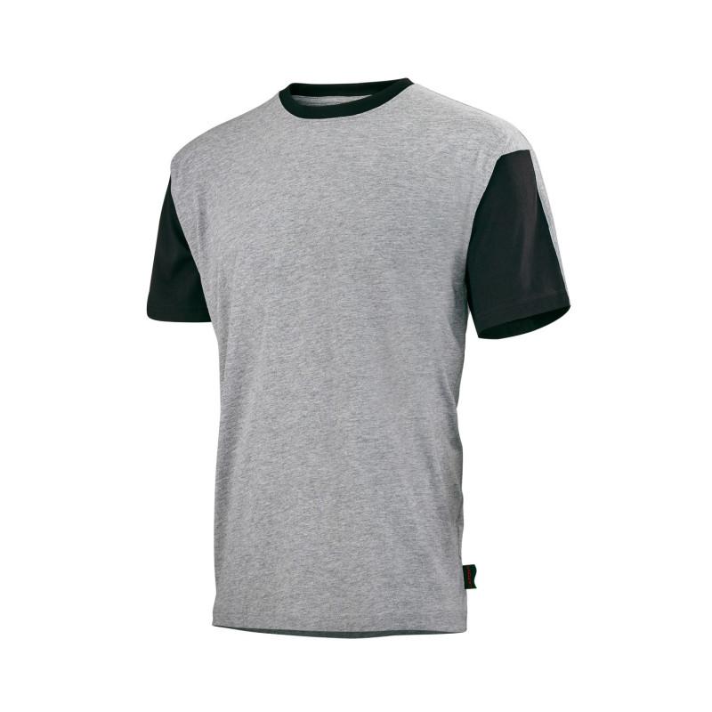 T-Shirt BTP Professionnel FLANGE marque LAFONT Work Attitude coloris gris chiné contrasté noir