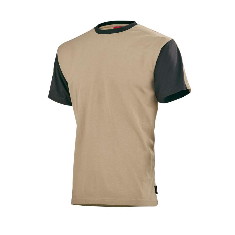 Tee-Shirt de travail BTP LAFONT collection Work Attitude FLANGE coloris beige contrasté noir 100% coton