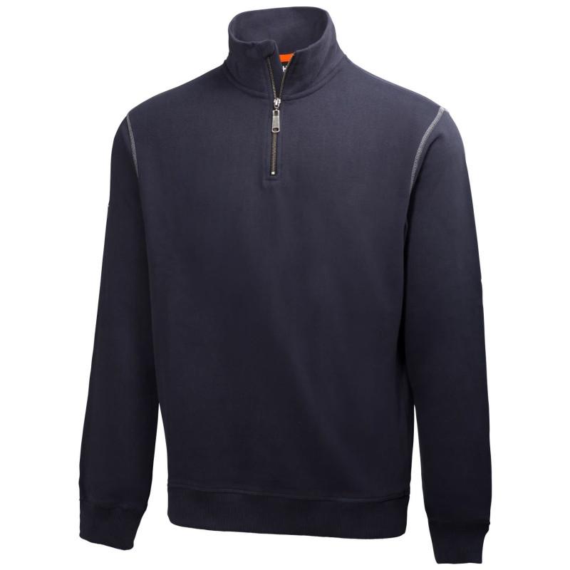 Sweat pro zippé col montant 100% coton Helly Hansen Workwear OXFORD bleu marine