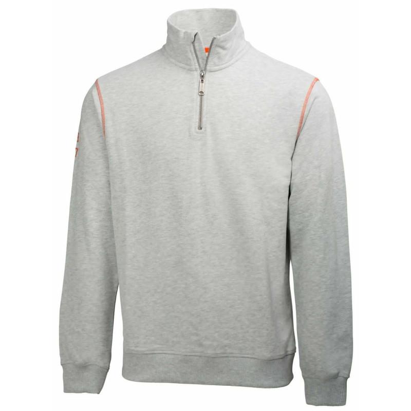 Sweat de travail blanc zippé col montant 100% coton Helly Hansen Workwear OXFORD