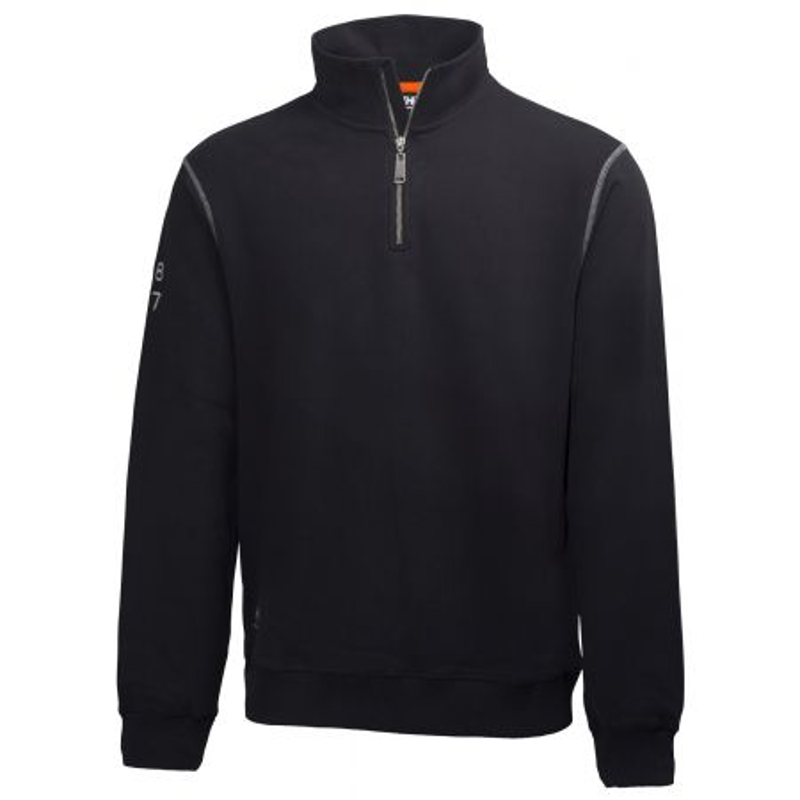 Sweat professionnel zippé col montant 100% coton Helly Hansen Workwear OXFORD noir