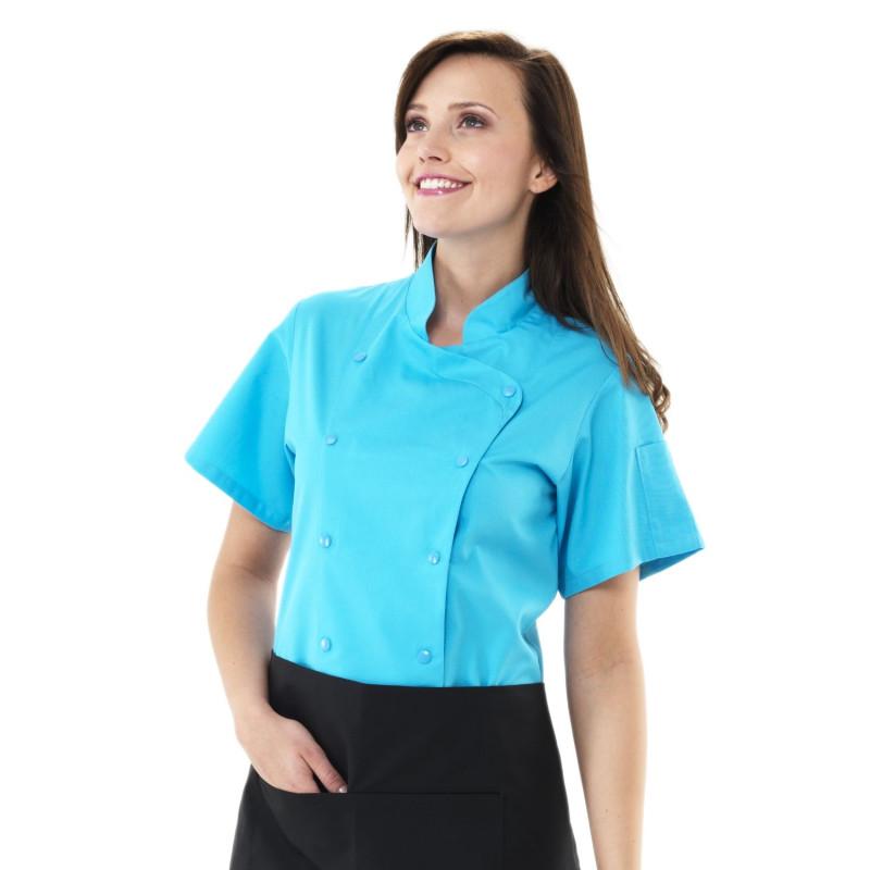 Veste de Cuisine Femme Manches Courtes LILLI turquoise