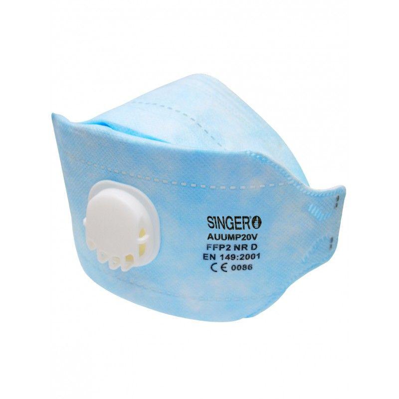 Demi-masque pliable 3 panneaux avec valve FFP2 NR D (boîte de 20 pièces)