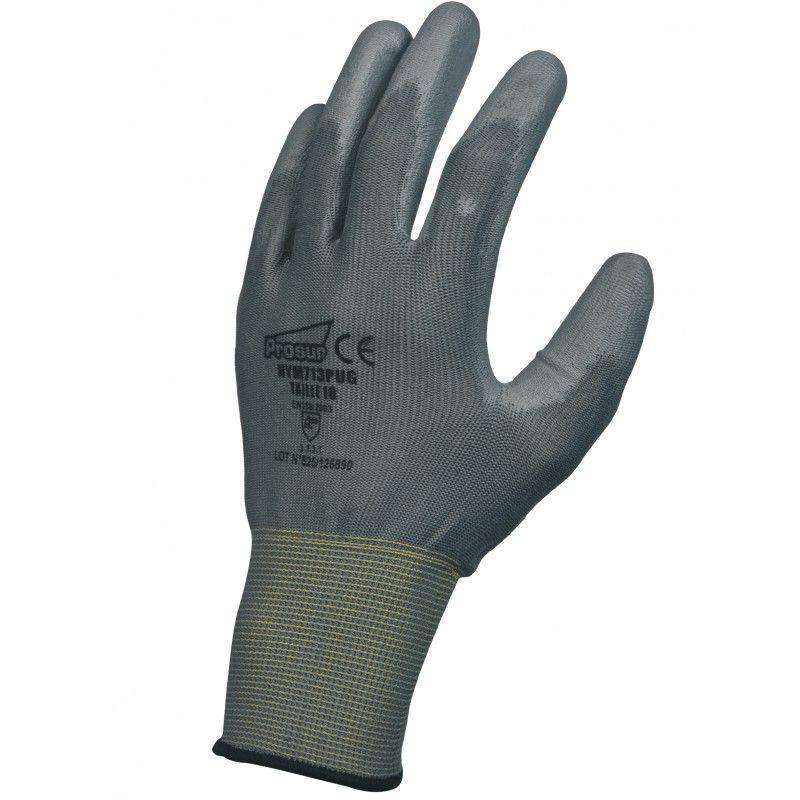 Gant polyuréthane (PU), support polyester sans couture. Jauge 13