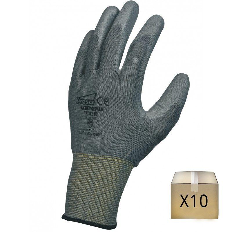 Gant polyuréthane (PU), support polyester sans couture. Jauge 13 (lot de 10)
