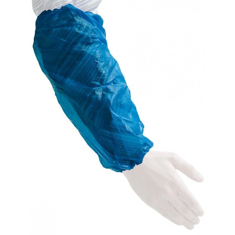 Manchettes PE à usage unique bleues