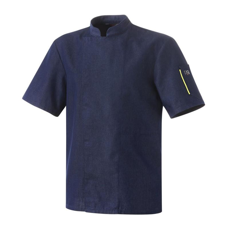 Veste de cuisine Robur NERO Denim Jean mixte manches courtes