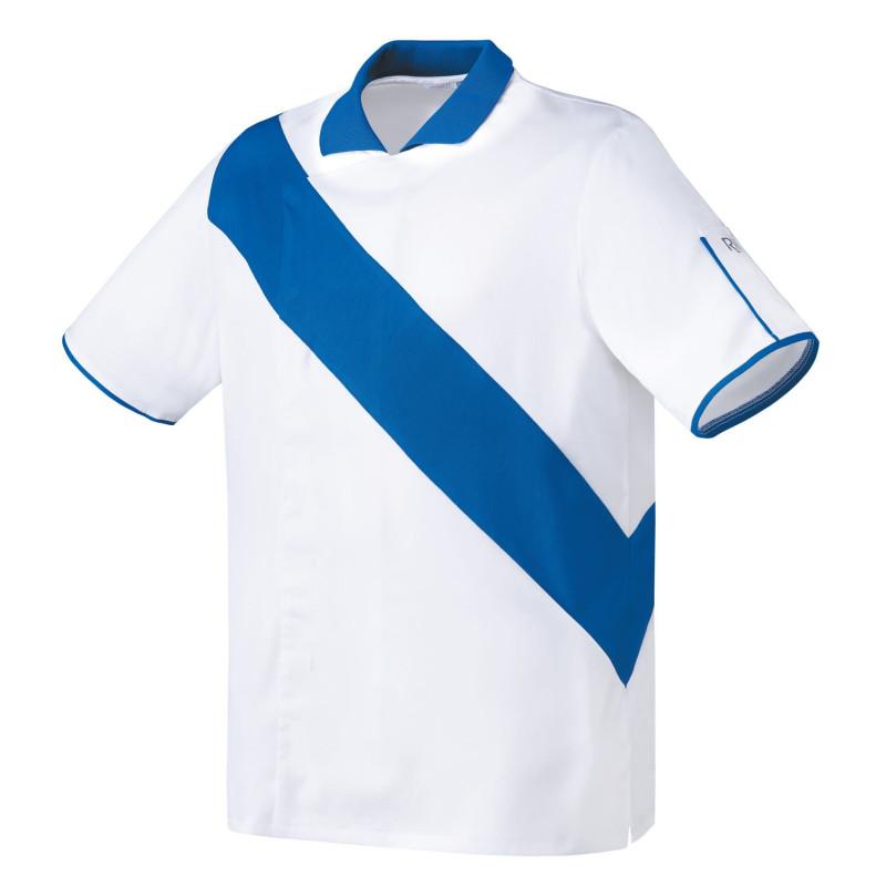 Veste de cuisine Respirante mixte VIADUC blanc et bleu roi