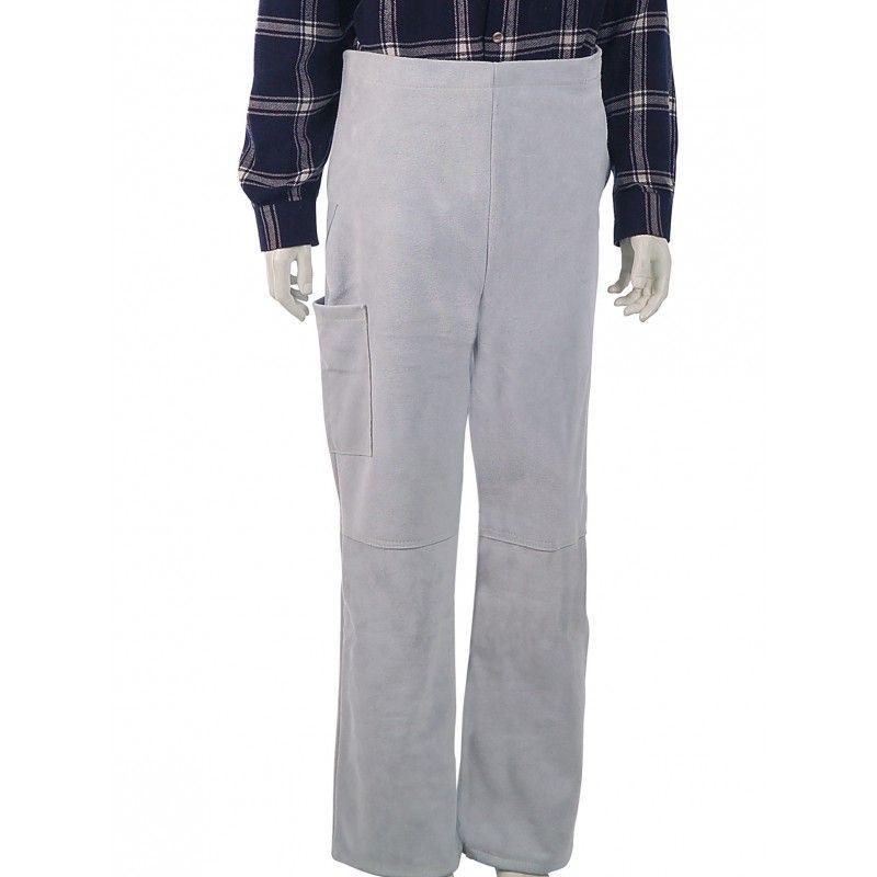 Pantalon de protection soudeur en cuir croûte de bovin - coloris naturel - vue ceinture