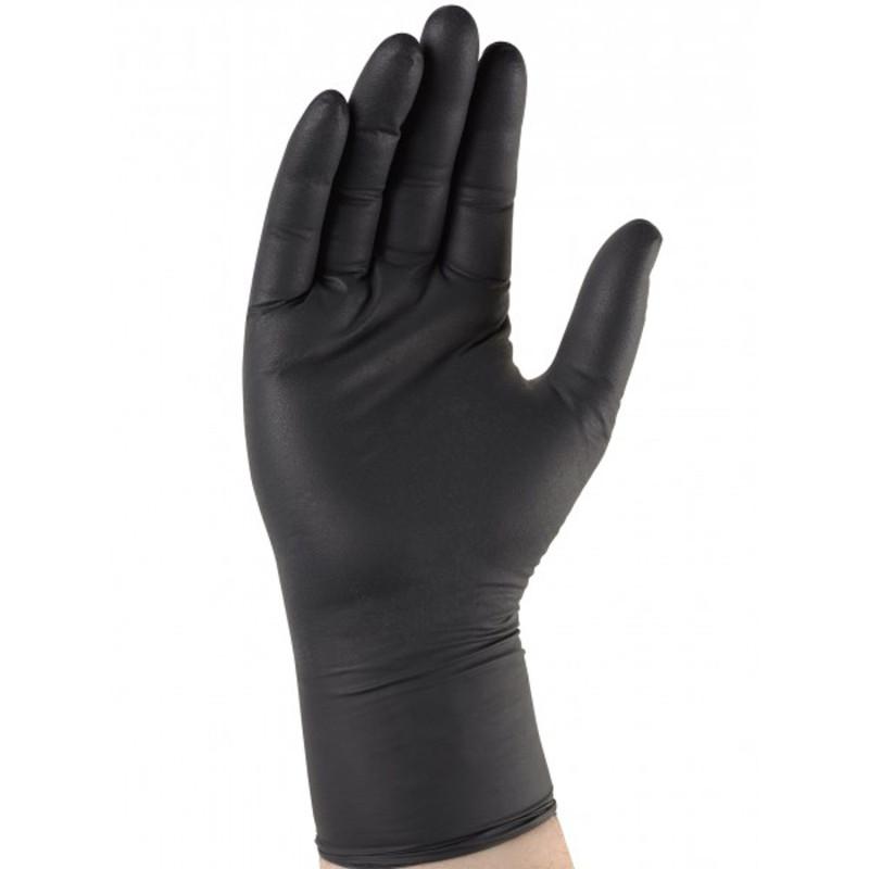 Gant protection chimique noir en Nitrile à usage unique