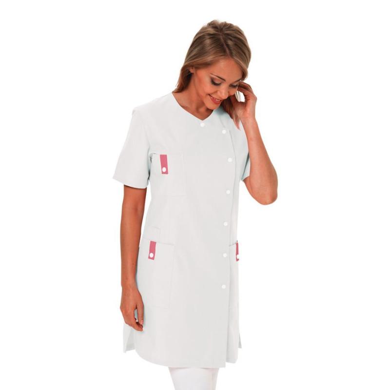 Tunique de travail Médicale longue Femme SOFIA Lotus Blanc à manches courtes blanc rose