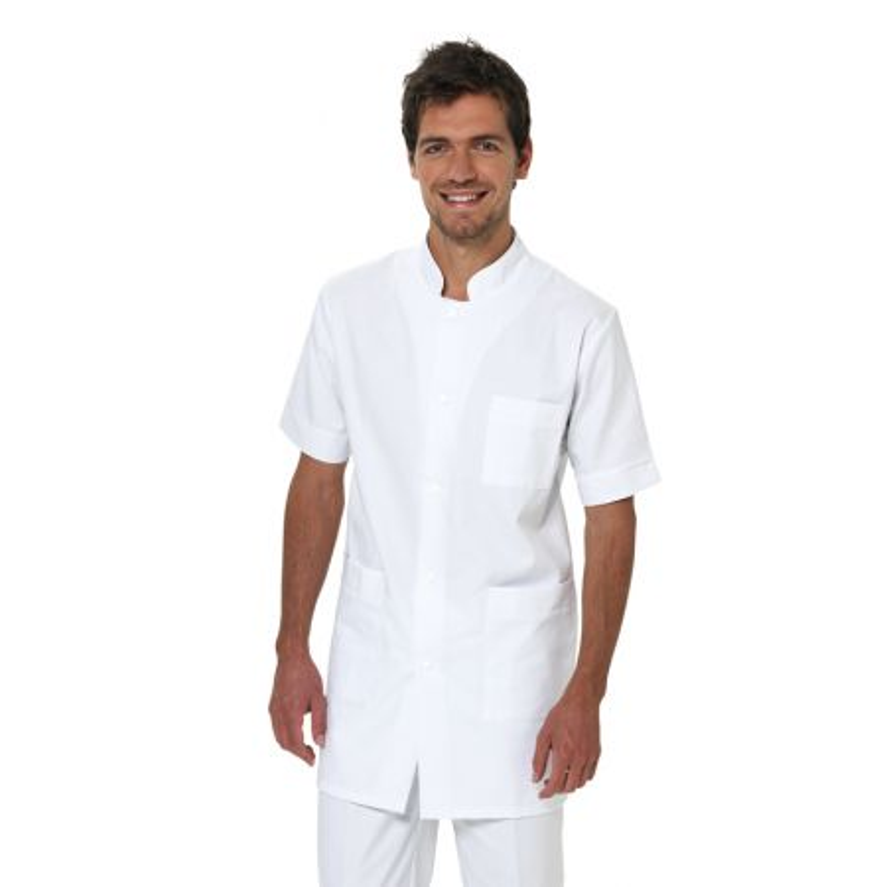 Tunique Médicale longue Homme ALBAN à manches courtes et de couleur blanche