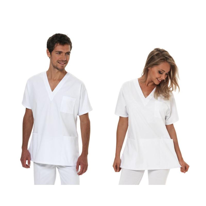 Tunique Médicale Mixte homme et femme MACAO à manches courtes - blanc
