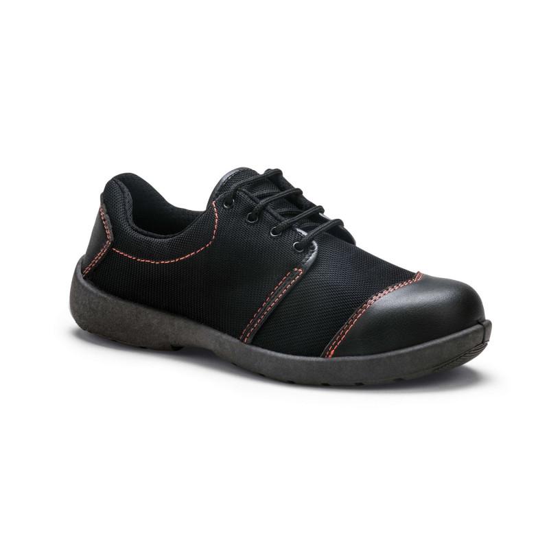 Chaussures de sécurité Femme S1P MARINA de S.24 de type basket très féminine noir et coutures colorées