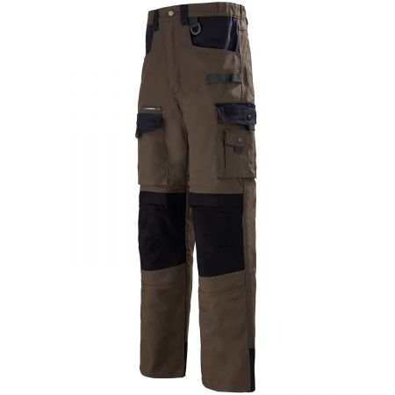 Pantalon BTP renforcé Lafont Work Attitude SPANNER de couleur marron contrasté noir