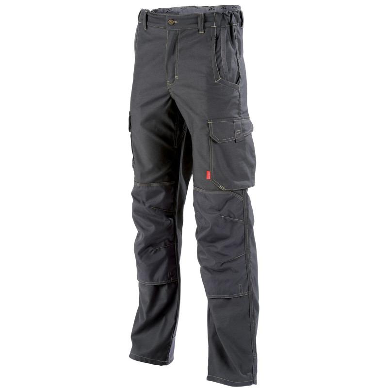 Pantalon de travail stretch avec poches genoux HAKAN Collection Stone de Lafont gris charbon
