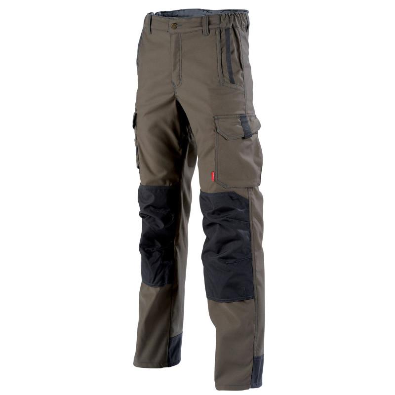Pantalon de travail stretch avec poches genoux HAKAN Collection Stone de Lafont marron havane