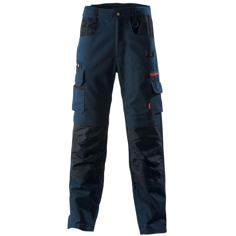 Pantalon professionnel BTP Lafont Collection Work Attitude 300 modèle FORAS bleu marine contrasté noir