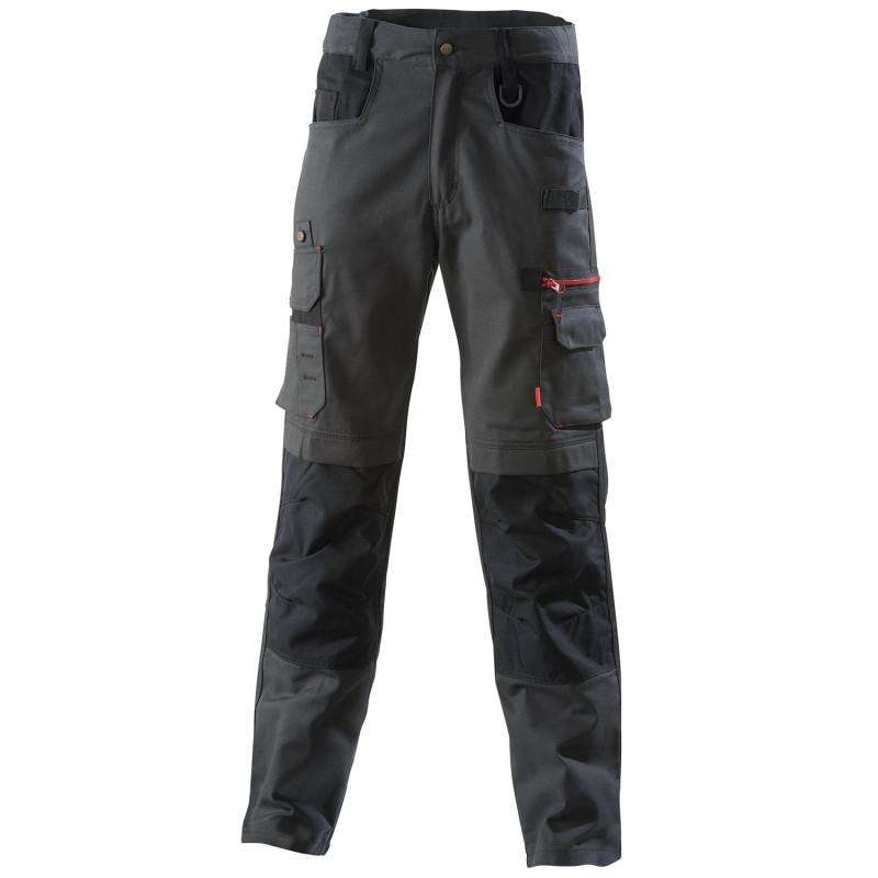 Pantalon de travail BTP Lafont Collection Work Attitude 300 modèle FORAS gris charcoal contrasté noir