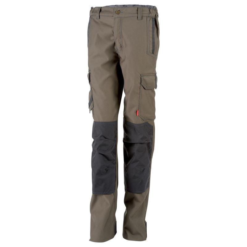 pantalon de travail stretch femme Lafont Collection Stone avec poches genoux modèle ITUHA marron havane