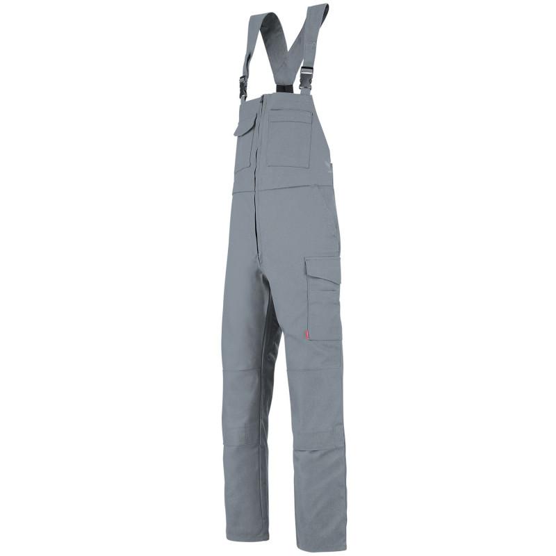 Salopette professionnelle Lafont Industrie ZIRCON WORK COLLECTION 6MIMCP avec poches genoux et sans métal gris acier