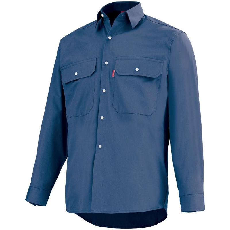 Chemise professionnelle bleu marine Lafont 100% coton, collection Work Profile, manches longues, modèle ROAD