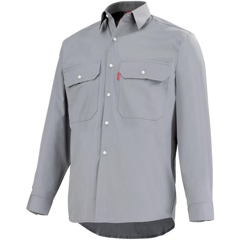 Chemise de travail grise Lafont 100% coton, collection Work Profile, manches longues, modèle ROAD