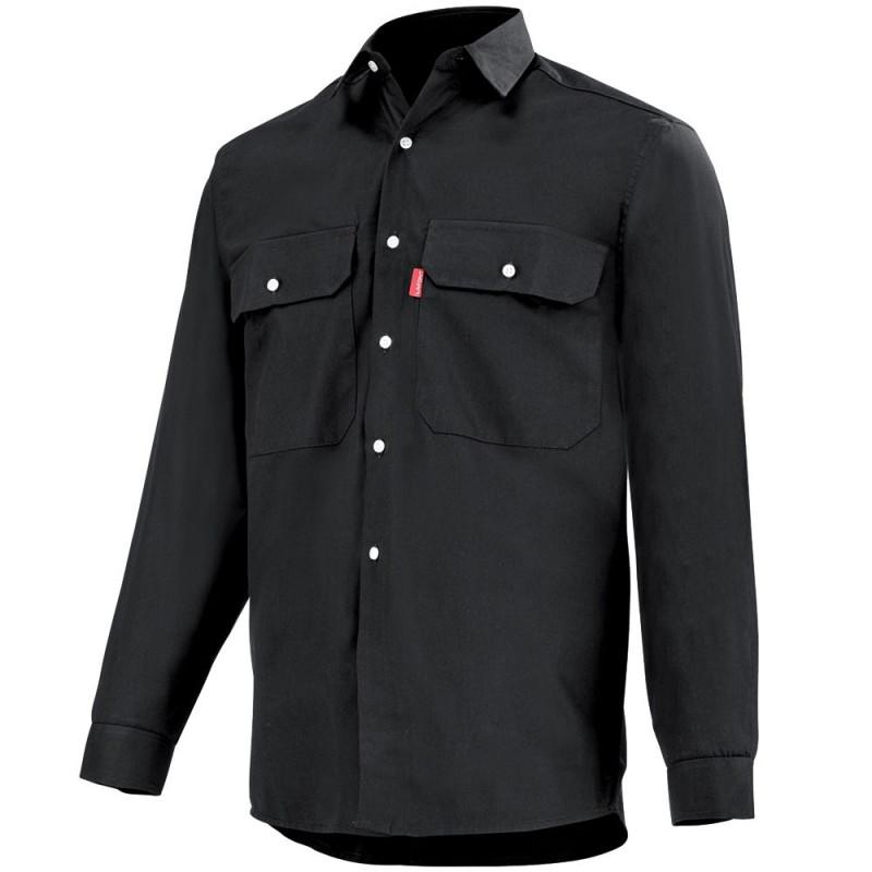 Chemise pro noire Lafont 100% coton, collection Work Profile, manches longues, modèle ROAD