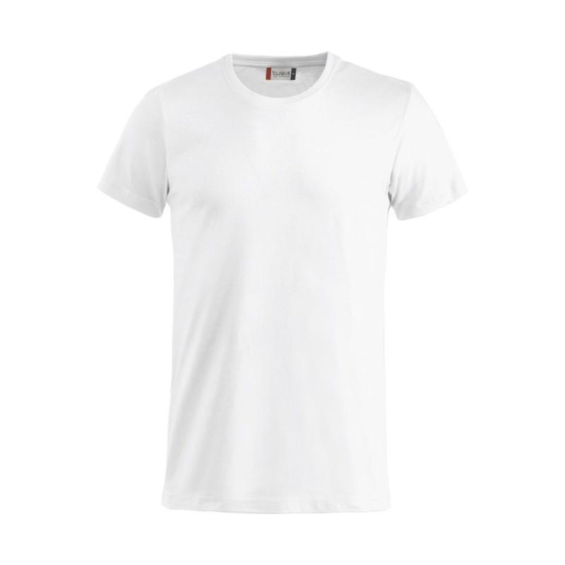 T-Shirt pro Clique 100% coton BASIC-T à col rond blanc - vue devant