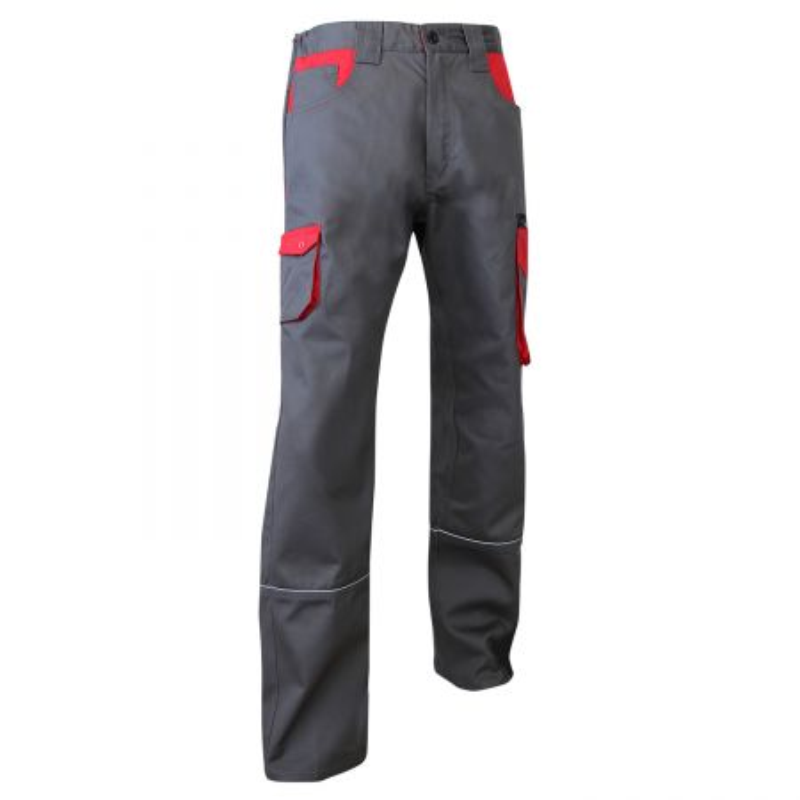 Pantalon de travail Industrie LMA LIN bicolore gris et rouge