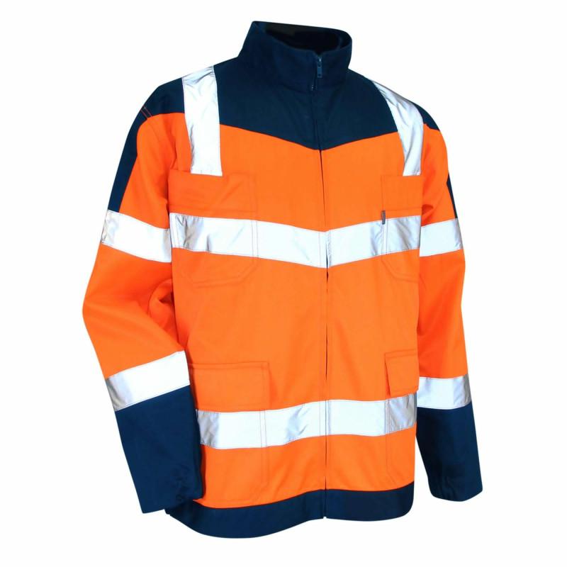 Blouson HV pas cher LMA URGENCE Modèle bicolore orange bleu marine mixte