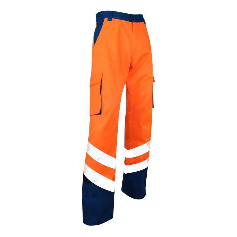Pantalon Haute Visibilité pas cher LMA BALISE mixte bicolore orange et bleu marine